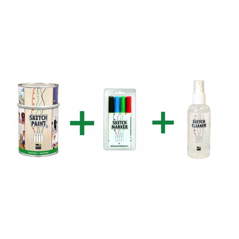 Combo Vopsea Whiteboard Transparent 1L+Set Markere+Cleaner