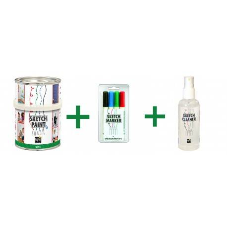 Combo Vopsea Whiteboard Alb Lucios 1L+Set Markere+Cleaner