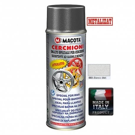 Vopsea Spray Jante Macota Alb Metalizat 400ml